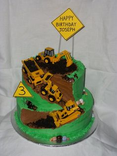 """Construction Cake 10"""" and 8"""" tiers, chocolate cake with buttercream icing. Toys provided by the customer. She wanted me to put as..."""