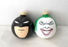 Batman and Joker Painted Ornament Set Dark Knight MADE TO ORDER. $30.00, via Etsy.