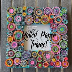 rolled paper green design upcycled magazine picture wood frame astrobrights paper family activity kids craft way too much time tedidous (3).JPG
