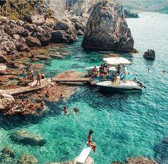 Paleokastritsa village, La Grotta Beach, Corfu island, Ionian Sea, Greece