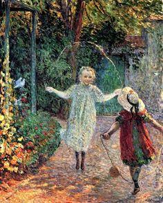 Young Girls Playing in the Garden ~ Henri Lebasque ~ (French: 1865-1937)