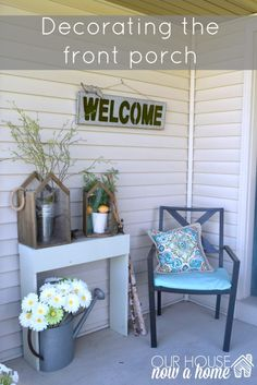 decorating the front porch using nature themed items helps to merge the indoor and outdoor living. This front porch makeover was simple and easy. To see more click on the link or visit- http://ourhousenowahome.com/