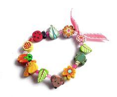 Spring Girls Stretch Bracelet Easter child jewelry by Chifonie
