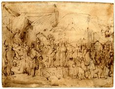 Rembrandt, Coriolanus and the Roman matrons; a throng of soldiers on horseback and on elephants, a group of bound (?) figures kneeling on the ground to r. c.1655-60 Pen and brown ink, touched with grey and brown wash, on buff prepared paper