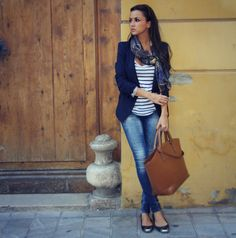 In my Backstage: Blue Marine love the stripes, blazer, scarf and jeans look for fall