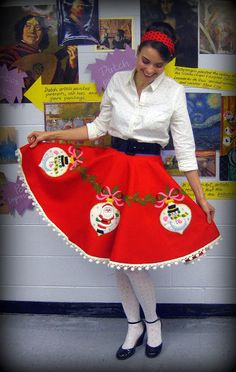 repurposed tree skirt to a holiday skirt