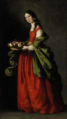 Saint Dorothy by Francisco De Zurbaran,1640-1650