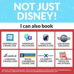 Contact me for any vacation  not just a Disney Vacation. My booking and planning services are free when you book your trip through me and go on that fabulous vacation. Contact me for info. (206) 659-1610 or carrielyn@wishuponastarwithus.com