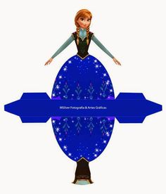 Anna from Frozen: Free Printable Dress Shaped Box. Disney Frozen Party, Frozen Birthday Party, Disney Princess Birthday, Frozen Free, Anna Frozen, Disney Paper Dolls, Princess Cupcake Toppers, Disney Crafts, Party Printables