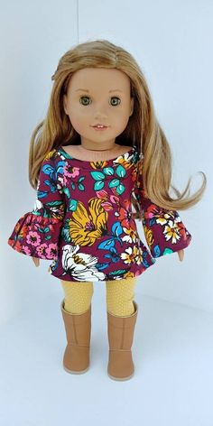 inch doll Excited to share the latest addition to my shop: Fits like American girl doll clothes. Burgundy floral tunic and leggings American Girl Outfits, Ropa American Girl, American Girl Crafts, American Doll Clothes, Ag Doll Clothes, Doll Clothes Patterns, Doll Patterns, Dress Patterns, Grunge Goth
