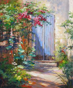 Ute Herrmann | Blaue Tür in der Provence Gemälde Öl auf Leinwand