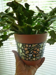 Recycled CD Mosaic Flower Pot