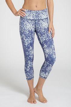 PLUS  Blue Premium Size Women Capri  Leggings 17 in yoga Pants Exercise Cotton