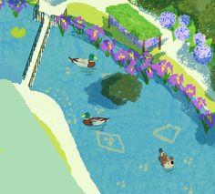 #wip #process #tatsurokiuchi #art #japan #illustration #duck #lake #pond