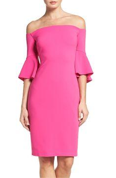 Pink bell sleeve dress for summer wedding guest season.