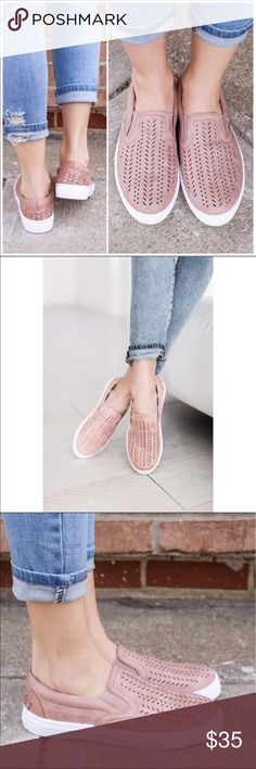 Blush Vegan Leather Slip On Sneaker Super cute and comfortable slip ons perfect for spring!!!! Vegan Leather. Fit true to size. Also have in white.   ❌ No trades   PRICE FIRM  Bundle three or more and get 10% off Shoes Sneakers