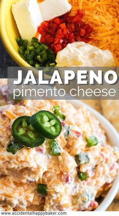 Jalapeno pimento cheese brings the flavor in this quick and easy appetizer. Sharp cheddar, cream cheese, mayo and pimentos are kicked up a notch with the addition of fresh jalapeno peppers.  #pimentocheese #appetizer #jalapeno #cheese #accidentalhappybaker