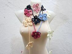 Handmade crochet Lariat Scarf Blue Dark blue Cream  Pink by nurlu, $20.00