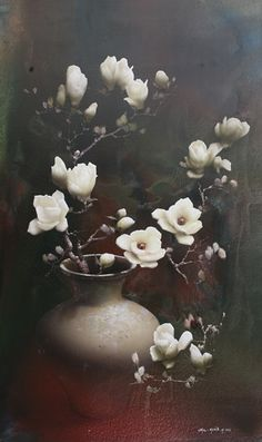 Magnolia by Park Chul Hwan, 150 x Acrylic on Canvas. Flower Painting Canvas, Watercolor Paintings, Art Pictures, Art Images, Photos, Art Et Nature, Graffiti Wall Art, Japan Painting, Vintage Botanical Prints