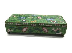 Green Floral Chinese Cloisonne Metal Box by VintageGypsies on Etsy, $65.00