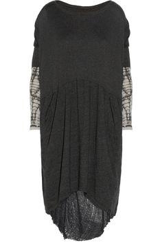 Raquel Allegra-Tie-dyed shredded cotton-blend dress