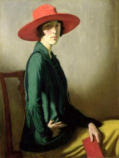 Vita Sackville-West as 'Lady In a Red Hat' (1918) by Scottish painter William Strang (1859-1921)