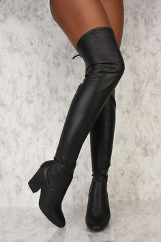 f3cad458b5c9 Sexy Black Round Pointy Toe Thigh High Chunky Heels Booties Faux Leather   Platformhighheels