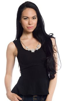 Flowers for You Peplum Top with Necklace - Black from April at Lucky 21 #getlucky21