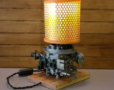 Table lamp from recycled vintage / retro car parts ( carburetor, air filter )