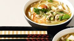 Ingredients 1 x 270g pkt dried udon noodles 24 (about 550g) small cooked prawns, peeled 150g silken firm tofu, cut into 2cm pieces 2L (8 cups) water 2...