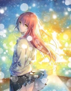 Anime Girl, Colorful, Long hair, Skirt, Snow, Beautiful, Orange, Blue, Rainbow, Cold, Outside, Pretty, Cool, Tree, Star, Galaxy, Wind, Blowing, Pastel, Pink, School Girl