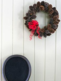 Holiday Decorating: DIY Pinecone Wreath: HGTV.com Holiday House with Britany Simon http://www.hgtv.com/holiday-house/package/index.html