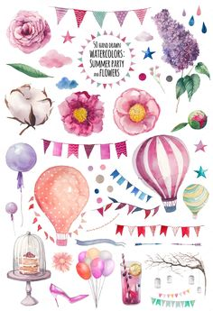 Watercolor Party flowers set: party flags garlands, hot air balloons, abstract elements (dots, clouds, stars, arrows), other summer objects and various floral elements. Perfect for wedding