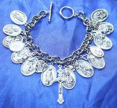 Religious Saint Medal Charm Bracelet (919A) LOADED with saint medals. $28.99