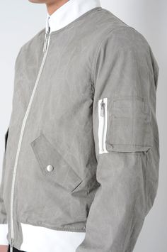 CMMN SWDN Hans Grey Cotton Bomber Jacket