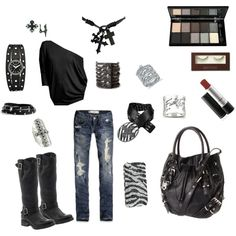 Rocker Chic, created by #jessica-gillespie on #polyvore. #fashion #style Velvet by Graham & Spencer Abercrombie & Fitch
