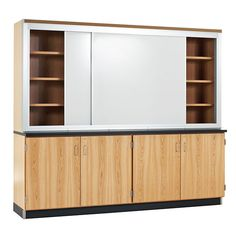 "Sliding Whiteboard Learning Wall with Storage - 8'W x 2'D x 7' 3""H"