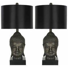 Bloomsbury Market Milena 62cm Table Lamp Set & Reviews   Wayfair.co.uk Black Table Lamps, Gold Table, Table Lamp Sets, Buddha Lamp, Style Asiatique, Golden Buddha, Black Buddha, Standard Lamps, Shades Of Black