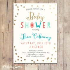 Whimsical Mint Coral Gold Baby Shower Invitation Printable OR Printed Card