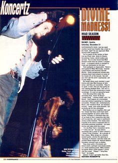 Mad Season article in UK's Kerrang! Mad Season, Pearl Jam, Blues, Seasons, History, Concert, Movie Posters, Layne Staley, Film Poster