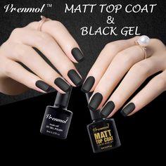 Vrenmol 2pcs Clear Matt Matte Top Coat+Black Color Gel Polish UV Gel Nail Art Design Long Lasting Soak Off Gel Varnishes #Affiliate
