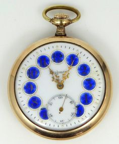 For sale is this vintage, gold filled, Highmere Cobalt Blue Enamel Dial Pocket Watch. The case measures 1 7/8 diameter and the movement measures 38mm diameter. It has Defiance gold filled case with absolutely no damage, dents or repairs. The watch has a beautiful porcelain dial with guilloche enamel number and a sunken minute dial. Crystals is clean and free of major scratches and cracks. It has been running strong and keeping time for the past 4 hours, but has not been serviced. For thi...