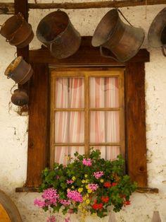 Shuttered Windows and Flowers, Corvara, Badia Valley, Trentino-Alto Adige/South Tyrol, Italy