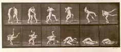 Afbeelding Eadweard Muybridge - Two Men Wrestling, plate 347 from ''Animal Locomotion'', 1887 (b/w photo)