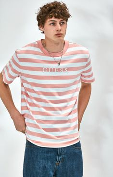 Go the throwback route on top in the Stream Stripe Pink T-Shirt by Guess. This essential tee has a crew neck, bold stripes all over, and a brand logo on the front. Look T Shirt, Guess Shirt, Guess Jeans, T Shirt And Jeans, Jean Shirts, Camisa Guess, Vintage Bowling Shirts, Outfits With Striped Shirts, Streetwear