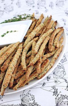 Crispy Baked String Bean Fries. Green beans baked in crispy Parmesan ...