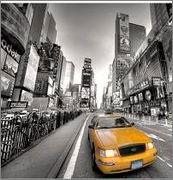 Painel decorativo, impresso em canvas, com gravura da Time Square, New York - 90x90 cm - 15927 - R$ 293,00.