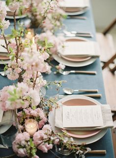 Prettiest Spring Wedding Color Inspirations You Must See--pink cherry blossoms fairystale wedding table settings, spring blush wedding centerpieces, wedding flowers, wedding decorations, Blush Wedding Centerpieces, Wedding Table Decorations, Wedding Table Settings, Decoration Table, Decor Wedding, Table Centerpieces, Floral Centrepieces, Wedding Mandap, Stage Decorations