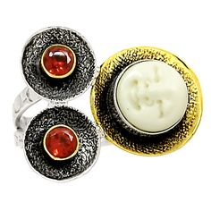 Two Tone - Face Camel Bone 925 Sterling Silver Ring Jewelry RR701 | eBay