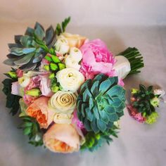 Congratulations to our Anna! We loved putting together her succulent, David Austin garden rose, ranunculus, freesia, peony bouquet and matching bout for her Classic Wedding Flowers, Dahlia Wedding Bouquets, Peonies, Ranunculus, Same Day Flower Delivery, Table Flowers, Flower Power, Congratulations, Succulents